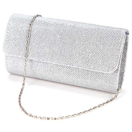 Anladia Elegant Damentasche Clutch Party Handtasche Abendtasche Brauttasche silber -