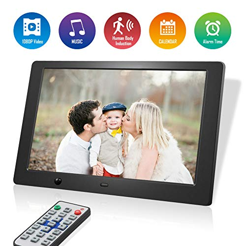 Digitaler Bilderrahmen 10 Zoll, 1280 x 800 HD Bildschirm, Full IPS Foto/Musik/Video Player Kalender Alarm, Auto on/Off (Hu-Motion Sensor), unterstützt USB-und SD-Karte, Fernbedienung