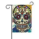 ALAZA Dia de los Sugar Skull Deko Garten Flagge Polyester für Home Garten Decor