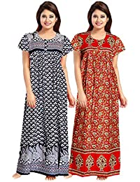 Silver Organisation Women's Cotton Nighty/Gown (Multicolor) Pavk of 2 Pcs