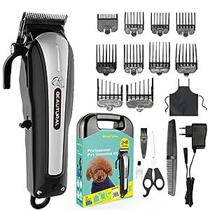 Beautural Tierhaarschneider Schnurlose Haarschneidemaschine für Haustiere Hunde Katze, geräuscharmer wiederaufladbarer Grooming Clipper Kits Schermaschine mit Kämmen, Schere, Stylingschürze