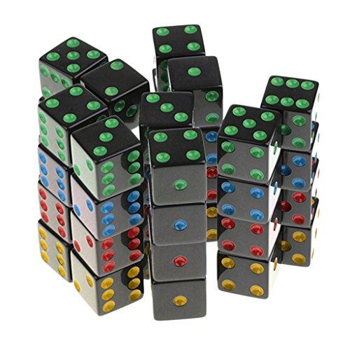Schwarze Gerste (MagiDeal 40er-Set Kunststoff D6 Sechsseitig Würfel für Brettspiel -Schwarz)