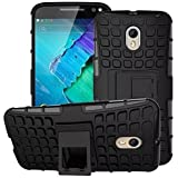 Dream2cool Rugged Hard Back Cover Kickstand Armor Case For Motorola Moto X Play (Black)