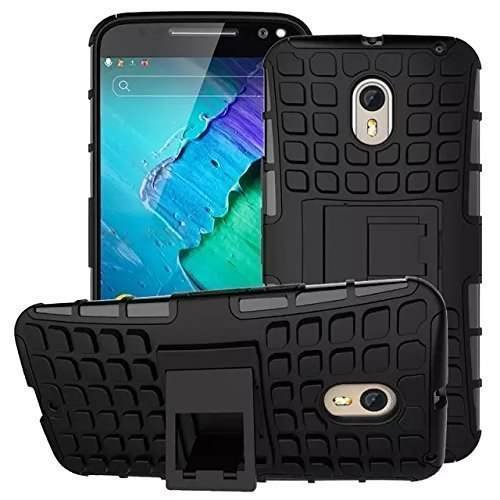 Anvika Dual Armor Kick Stand Back Cover Case for Motorola Moto X Play (Black)