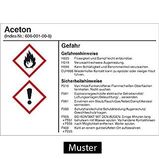 Gefahrstoffetikett G002: Ammoniaklösung (25%) Größe: 14,8 x 10,5cm für Behälter mit einem Fassungsvermögen bis 50 Liter