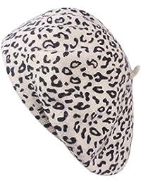 Cuigu Mode Mujer Boina Sombreros Gorro Cálido automne-Hiver de Lana  Leopardo Gorra décontractée Vintage 56efb420335