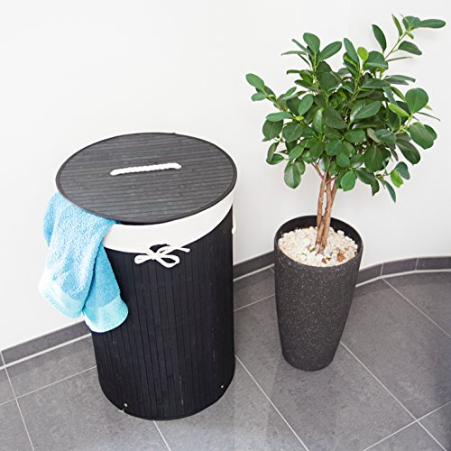 Relaxdays Runder Bambus Wäschekorb - 2