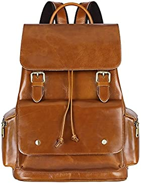 S-ZONE Vintage Echtes Leder Rucksack Reisen Schule Rucksack für Damen und Herren