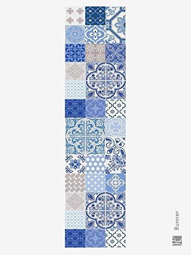 Huella deco Läufer aus Vinylal Blau/Mehrfarbig 180 x 50 cm (Deco-keramik-fliese)