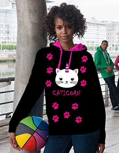 Sweat-shirt--capuche-T-shirt-Femme-Pull-over-caticorn
