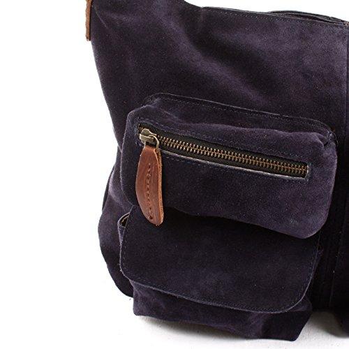 5245b2b5b14e1 ... LECONI Schultertasche Damentasche Vintage Look Leconi Veloursleder  Wildleder Damen Leder Shopper 41x32x10cm LE00039-V navy