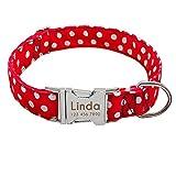 Didog Hundehalsband, personalisierbar, weiches Nylon mit Edelstahl-Schnellverschluss-Schnalle, Punktemuster mit Namensschild, für kleine und mittelgroße Hunde
