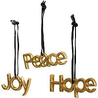Homescapes Weihnachtsbaumschmuck 3tlg Weihnachtsdeko Anhänger Schriftzug Joy Peace Hope Christbaumschmuck gold Aluminium