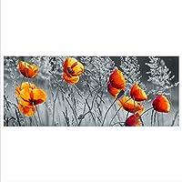 Wandbild Flur Bilder Wohnzimmer Wanddeko DekoGlas Glasbild Mohnblumen Echtglas Bild K/üche einteilig 125x50 cm