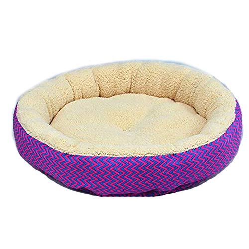 Cupcinu Pet Nest Haus Hund Bett Katze Bett Hund Decke Hund Kennel Mats Runde Hund Bett mit Einem V-förmigen Muster Size 34 * 34 * 10cm (Púrpura)