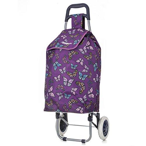 Hoppa 47L Einkaufstrolley Einkaufsroller Einkaufswagen Cart Shopping Trolley (Schmetterling lila)