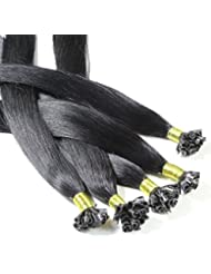 hair2heart 200 x Bonding Extensions aus Echthaar, 60cm, 1g Strähnen, glatt - Farbe 1 schwarz