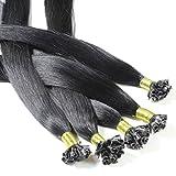 Just Beautiful Hair and Cosmetics Lot de 100 extensions de cheveux naturels Remy Hair avec points de kératine pour pose à chaud Noir (1) 50 cm