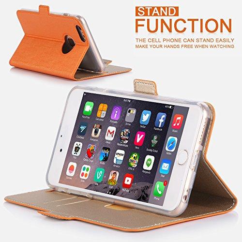 iphone 6s plus Coque , Coque iphone 6 plus, Fyy® [Séries Haut de gamme] Étui Luxueux en Cuir PU avec Coverture Toute-Puissante pour iPhone 6S Plus/6 Plus (5.5 pouces) Orange + Or C-Orange