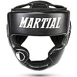 MARTIAL Kopfschutz mit hoher Schlagdämpfung! Gesichtsschutz mit perfekter Sicht und geringer Schweißentwicklung. Boxhelm für Kampfsport, MMA, Boxen, Kickboxen & Sparring inkl Beutel! (Schwarz, One Size)