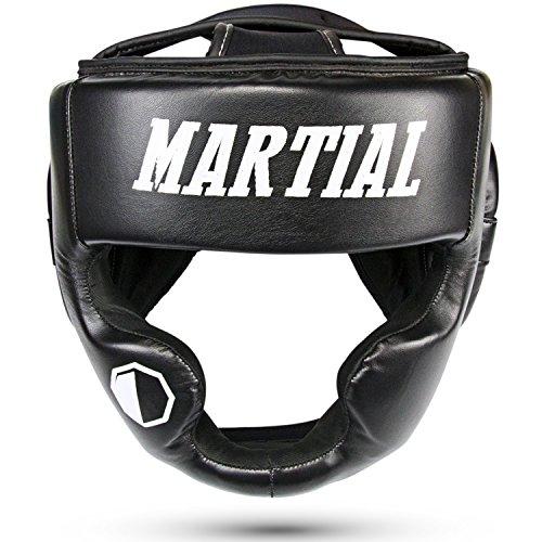 Casco MARTIAL da Boxe, Kick Boxing, Karate, MMA | Alta Protezione | Visuale Perfetta | Unisex | Caschetto Da Pugilato e Taekwondo a Bassa Sudorazione | Pelle PU | Borsa Inclusa | Headguard