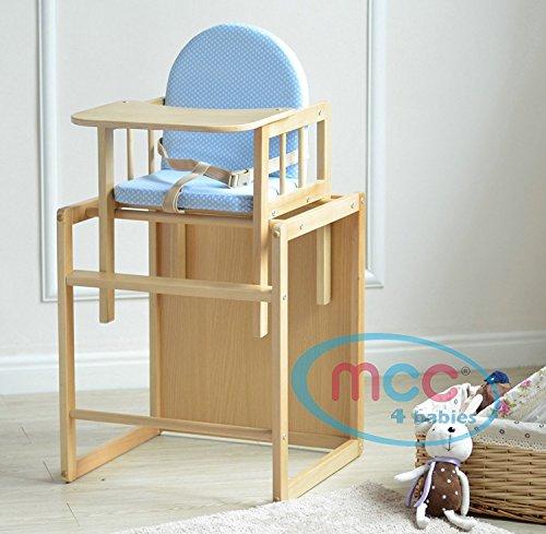 Spieltisch Hochstuhl (MCC Blauer 3 in 1 Kinderhochstuhl aus Holz mit Geschirr, umwandelbar zum Spieltisch)