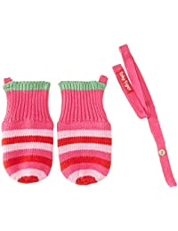 Toby Tiger Girls Pink and Green Knitted Striped Mittens
