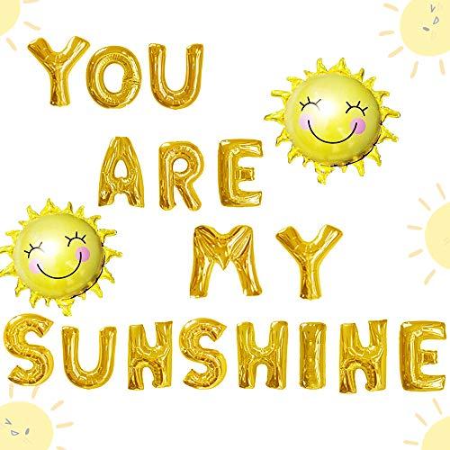 JeVenis 18 PCS Sie sind Meine Sonnenschein-Ballone Sonnenballone Sie sind Meine Sonnenschein-Fahne Sie sind Meine Sonnenschein-Geburtstags-Dekoration (Mein Sind Sie Sonnenschein-party)