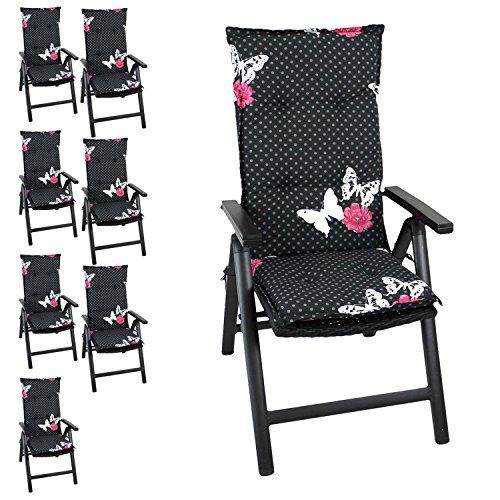 8er Set Gartenstuhlauflage Stuhlauflage Polsterauflage Hochlehner 116x46cm - 6cm dick, schwarz mit Schmetterlingen Sitzauflage Sitzpolsterauflage Sitzkissenpolster