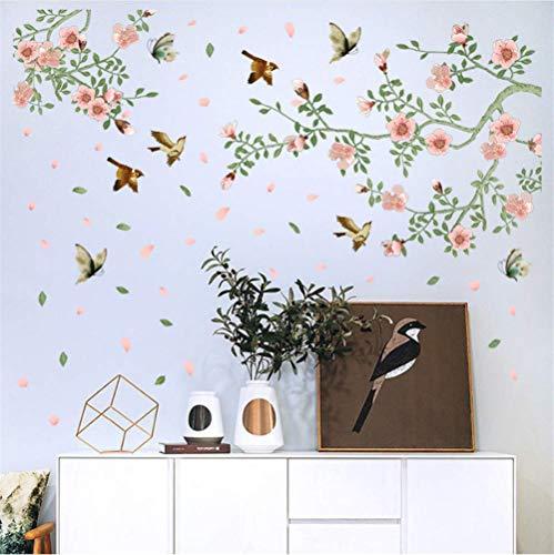 WandSticker4U- Wandtattoo Aquarell PFIRSICHBLÜTE rosa/grün | Wandbild: 133x85 cm | Wandsticker Blumen Ast Vogel Wandaufkleber Baum-Zweig Blüten | Deko für Wohnzimmer Schlafzimmer Küche Bad Flur GROSS