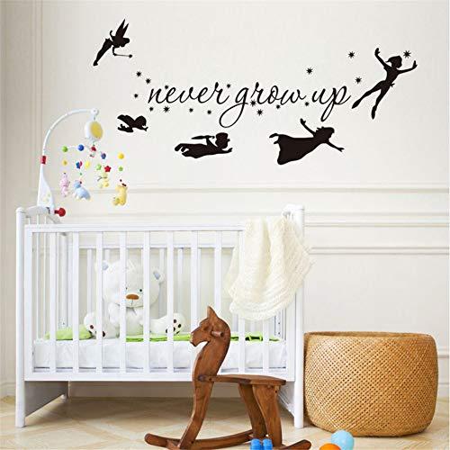 Mddjj Jamais Grandir Enfants Battant Silhouette Fantasy Fairytale Vinyle Wall Sticker Chambre Bébé Enfants Salle De Jeux Home Decor56X25 Cm Salon Decor