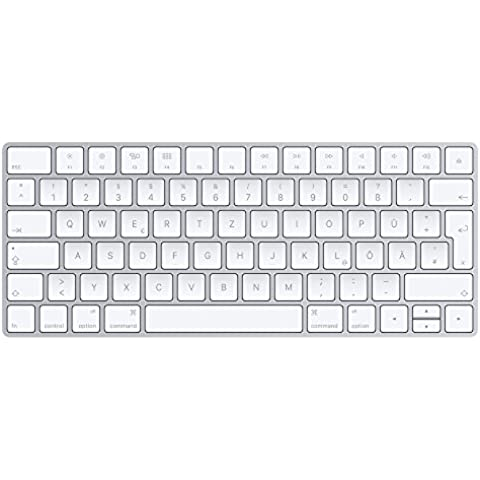 Apple Magic Keyboard - Teclado (Bluetooth, QWERTZ, Alemán, Inalámbrico, Plata, Color blanco,