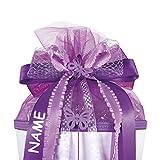 Unbekannt Große 3-D Schleife - Incl. Name / Text - 24 cm Breit u. 54 cm Lang - mit Schmetterling Lila Violett - für Geschenke und Schultüten