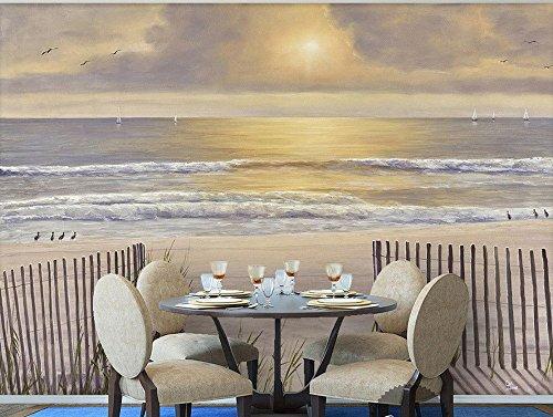 Yosot 3D Tapete Für Zimmer Die Sonne, Weißer Sandstrand Holz Zaun Meerblick Landschaft Gemälde Foto 3D Tapete-140Cmx100Cm