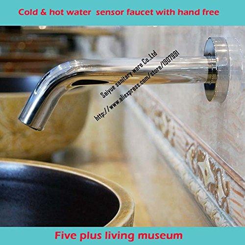 hbbobo Fashion tre set per lavabo 3fori lavabo doppio manico bagno rubinetto per lavabo, finitura cromata, AC DC Freddo Acqua calda