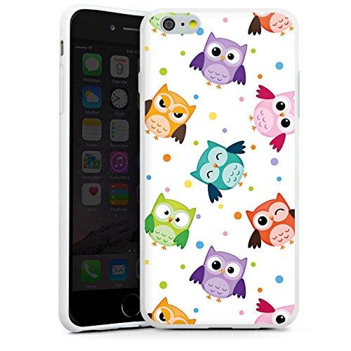 Apple iPhone 8 Tasche Hülle Flip Case Eulen Muster Bunt Silikon Case weiß