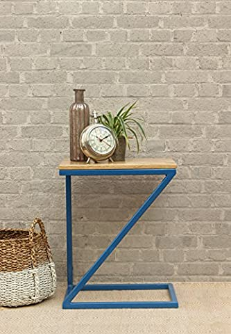 Store Indya Gift Stylish Z-Shaped Wooden Side End Table Stool (40.5 x 50.5 cm) Sofa Bedside Table Decorative Display Stand Student Desk Home Living Room Furniture Decor