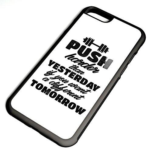 Smartcover Case PUSH it harder z.B. für Iphone 5 / 5S, Iphone 6 / 6S, Samsung S6 und S6 EDGE mit griffigem Gummirand und coolem Print, Smartphone Hülle:Samsung S6 EDGE weiss Iphone 6 / 6S schwarz