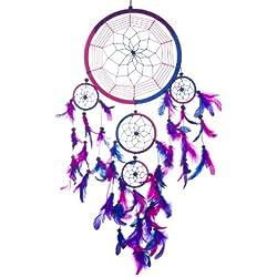 Pink Pineapple // Atrapasueños Hecho a mano Tradicional Azul real, Rosa, Púrpura 22 Centímetros de Diámetro 60 Centímetros de Largo (Azul real Rosa Púrpura)