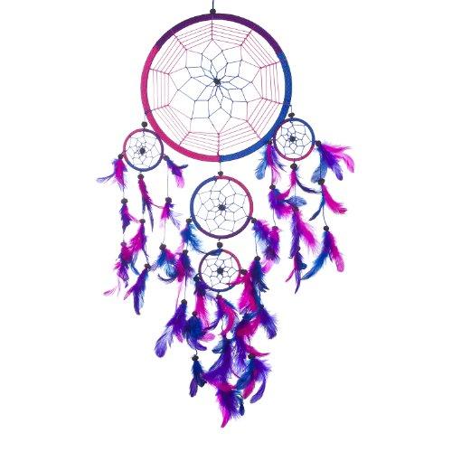 catturato Dreams acchiappasogni ~ a mano tradizionale Royal blu, rosa e viola 21,6cm di diametro e 61cm di lunghezza Blu Rosa Viola