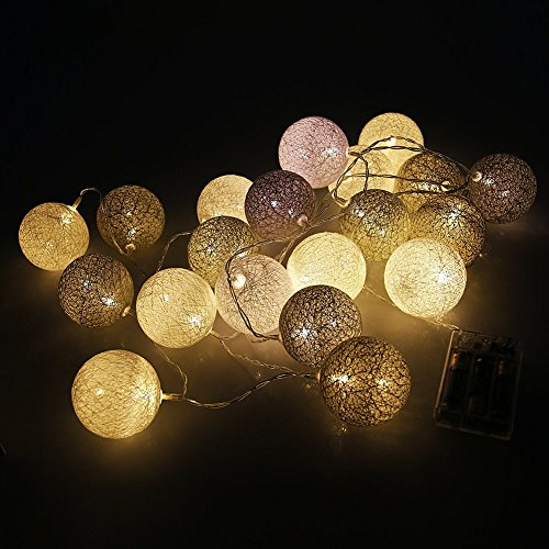 Morbuy Cotton Lichterketten, Wattebausch Lichterketten 6CM Ball Lights LED Lichterkette Festlich Hochzeiten Geburtstag Party 20 Baumwollkugeln LED Batterie Farbe Themen Lichterkette 3.3m (3.3M / 20 Lichter, Grauer Himmel)