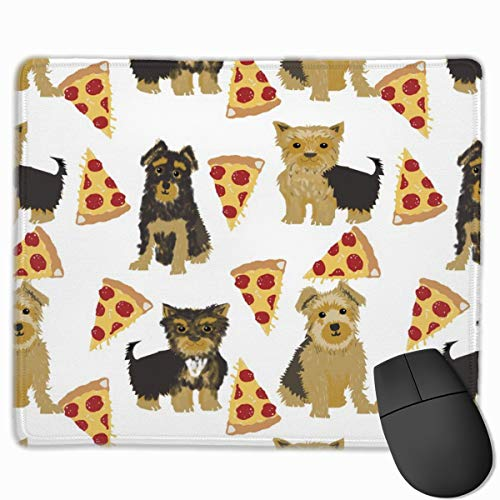 Yorkie Pizza, Yorkshire Terriers Pizza Funny Cute Dog Novelty Food Print for Yorkie Owners Best Dogs for Home Dec Mousepad 18x22 cm - Dog Food Yorkie