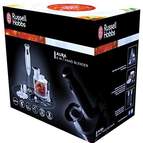 Russell Hobbs Aura Batidora de Mano 6 en 1 de 600w con 6 Funciones, Incluye Cuenco 1,2 litros, 600 W, Plástico, Blanco