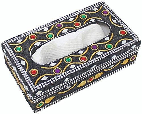 SKAVIJ Tissue Inhaber Box Cover - Handgemachte schwarz Dekorative rechteckige Serviette Dispenser Case für Esstisch Bad Küche Büro Auto