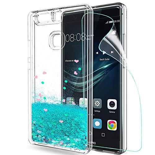 LeYi Hülle Huawei P9 Plus Glitzer Handyhülle mit HD Folie Schutzfolie,Cover TPU Bumper Silikon Flüssigkeit Treibsand Clear Schutzhülle für Case Huawei P9 Plus Handy Hüllen ZX Turquoise