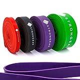 STRONGEAR® Premium Pull Up & Fitnessbänder mit digitaler Übungsanleitung - Klimmzug- und Trainings-band für CrossFit u. Calisthenics / Widerstandsband / Resistance Band - verschiedene Größen (Level 3 - STARK (Lila))