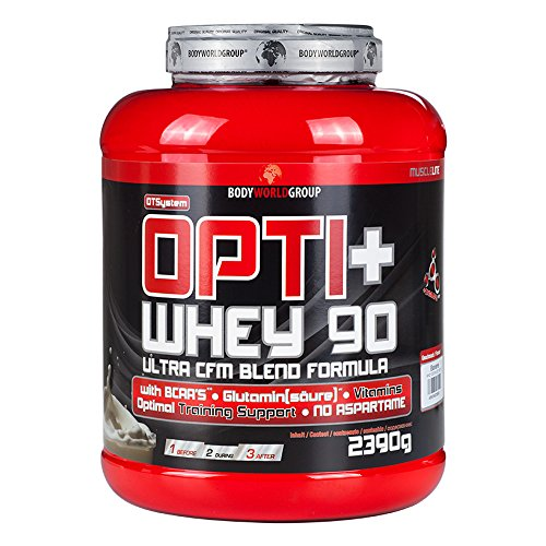 BWG Opti+ Whey 90 Protein, Eiweißshake, Muscle Line,Coconut, 1er Pack (1 x 2390g Dose)