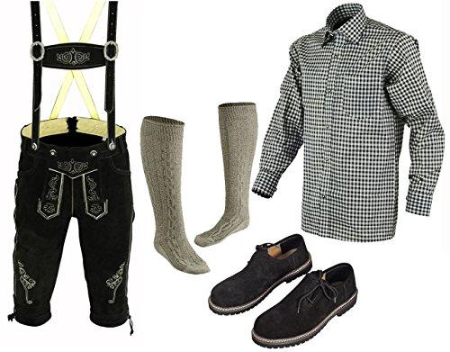 Herren Trachten Lederhose 46-62 Trachten Set,Hemd,Schuhe,Socken Neu (56)