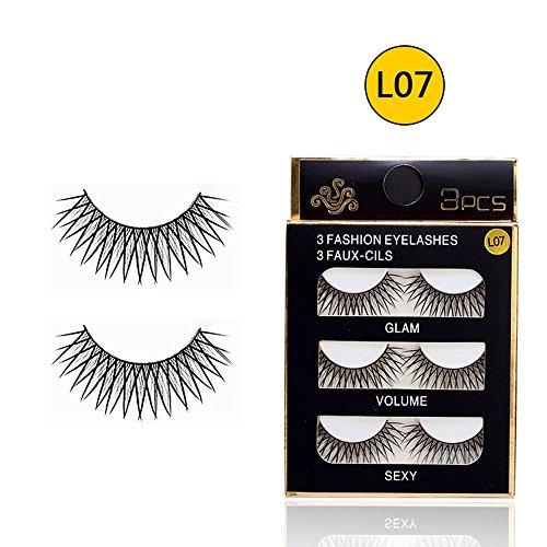 uli® Weiche 3 Paare langes Make-upkreuz-starke falsche Wimpern-Wimpern Nautral Künstliche Wimpern 3D Falsche Wimpern Magnet Wimpern Wiederverwendbare ()