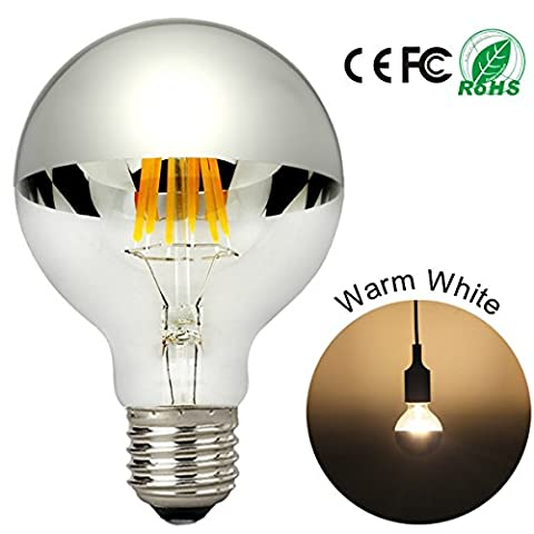 LED Light Bulbs with Silver Crown Mirror 6W G80 Globe Shape Bulb E27 Screw Warm White 2700K Dimmable